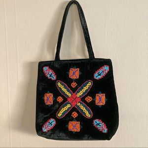 INDIO VTG black velvet beaded mini bag